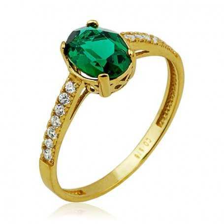 Sortija Oro 18K Circonitas con piedra verde en garra|ARESSO