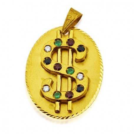 Colgante Oro 18k Chapa con Dolar