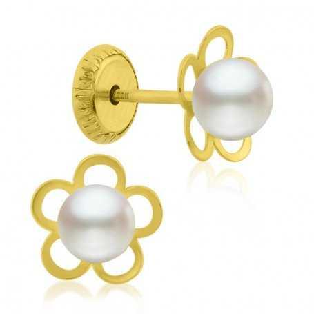 Pendiente Infantil Oro Perla Flor
