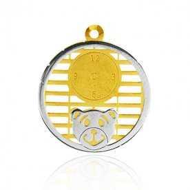 Colgante Oso Hora Oro Amarillo Oro Blanco