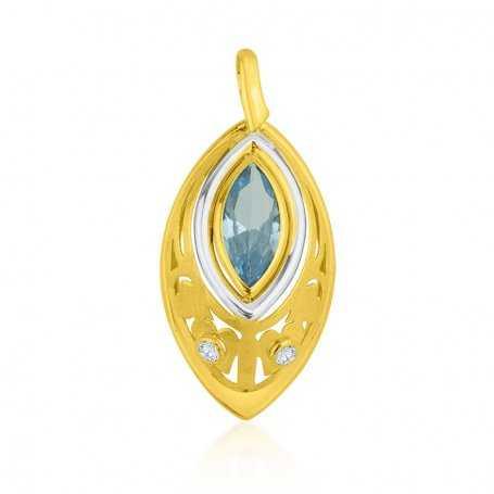 Colgante Oro Bicolor En Forma de Lagrima Aguamarina