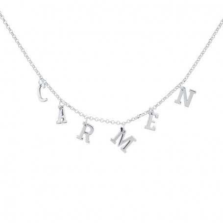 Collar Nombre Personalizado Plata Letras Colgantes