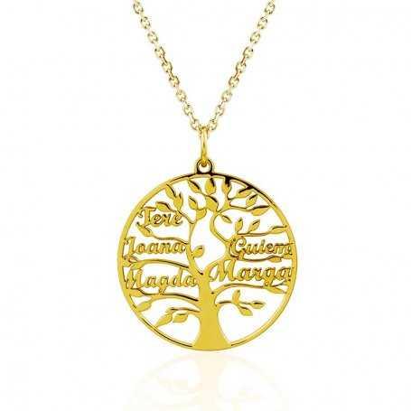 Collar Árbol de la Vida Cinco Nombres Oro