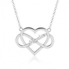 Collar Nombre Personalizado Plata Corazón Infinito