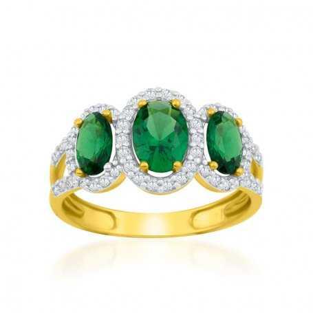 Anillo Oro Piedras Color y Circonitas Crown
