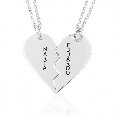 Collar Nombres Personalizados Plata Corazón Dividido