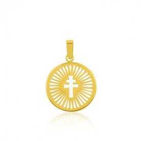 Medalla Infantil Cruz Oro Nácar Light