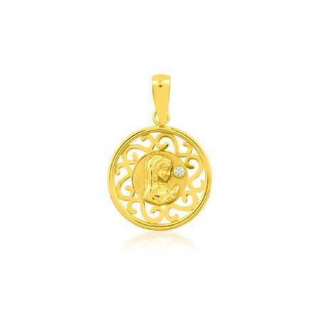 Medalla Infantil Virgen Oro Circonita Elena