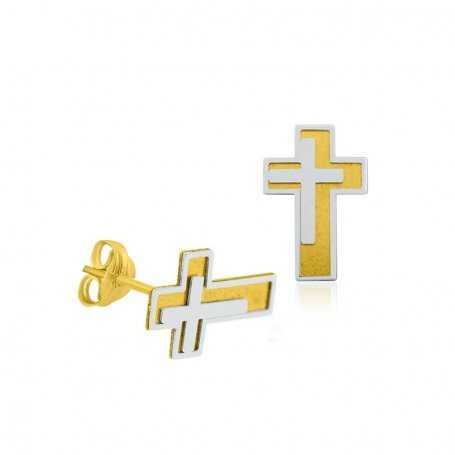 Pendientes Infantil Cruz Oro Blanco Amarillo Crucis