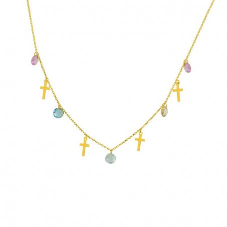 Collar Oro Cruces Piedras Color Ana