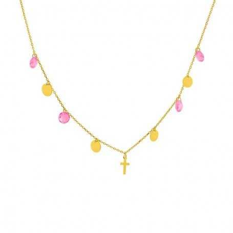 Collar Oro Cruz Discos Piedras Color Julia