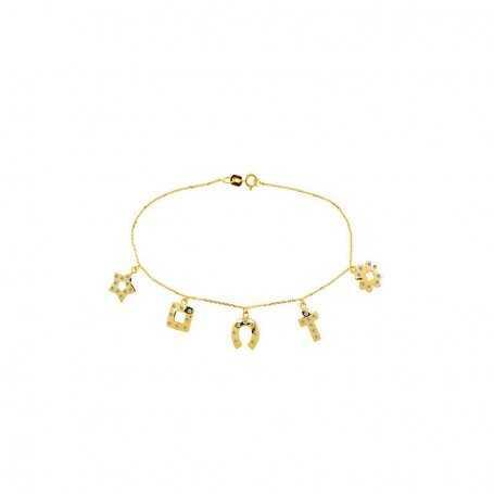 Pulsera Charms Oro Circonitas Lucky-Holly