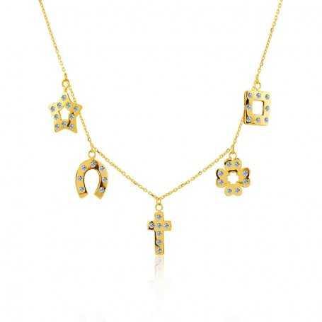 """Collar 5 Charms Oro 18k con Circonitas """"Holly"""""""