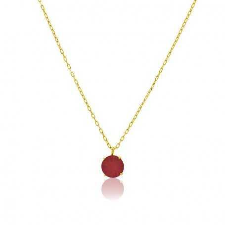 Collar Oro Garras Piedra Color Rubí Tuesday