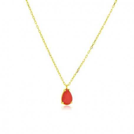 Collar Oro Motivo Lagrima Rubí Tuesday