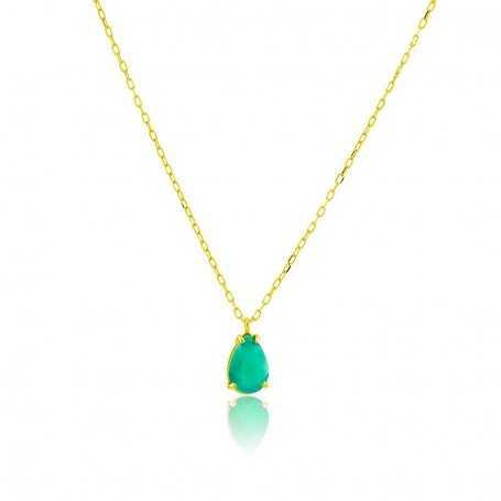 Collar Oro Motivo Lagrima Esmeralda City
