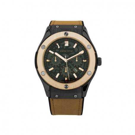 Reloj Hombre Exactime Analógico Negro Dorado