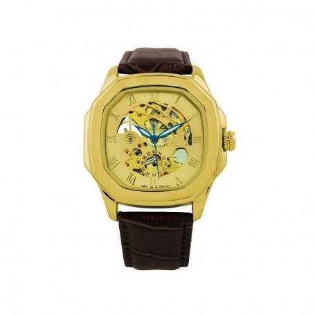 Reloj Hombre Exactime Automático Dorado Cuero