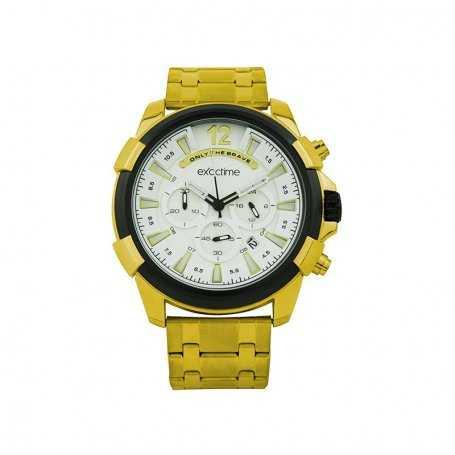 Reloj Hombre Exactime Analógico Dorado Negro