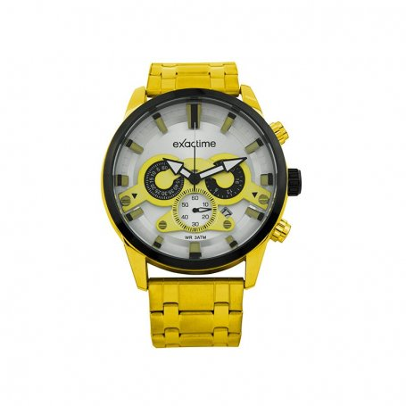 Reloj Hombre Exactime Analógico Dorado Negro Gold