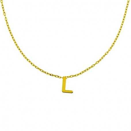 Collar Con Inicial Personalizada Oro
