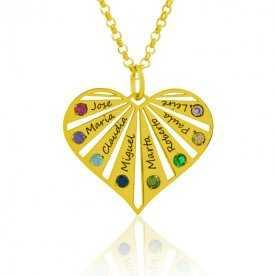 Cadena más colgante plata dorada corazón hasta 8 nombres con piedras de color | Joyerías Aresso