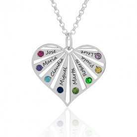 Cadena más colgante plata plateada corazón hasta 8 nombres con piedras de color | Joyerías Aresso
