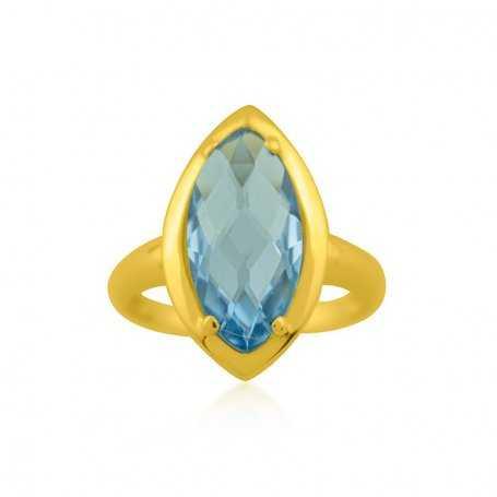 Anillo Oro Piedra Azul Ohio