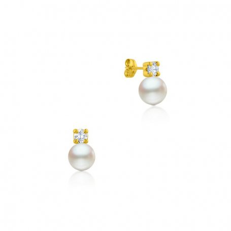 Pendiente Oro Perla Con Circonita Hooked