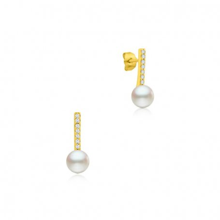 Pendiente Oro Perla Con Circonita Bósforo