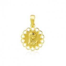 Medalla Oro Amarillo Redonda Calada Infantil Virgen Niña | GravityGym