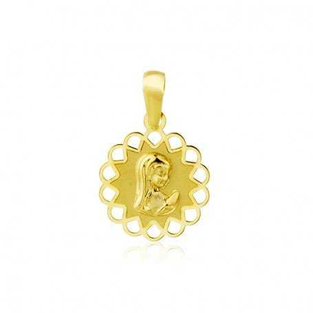 Medalla Oro Amarillo Redonda Calada Infantil Virgen Niña   GravityGym