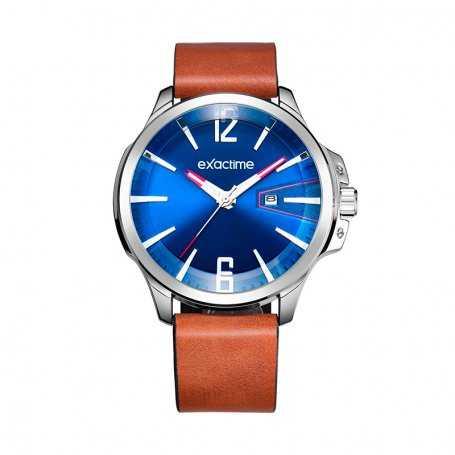 Reloj Hombre Exactime Azul Marrón Sportive