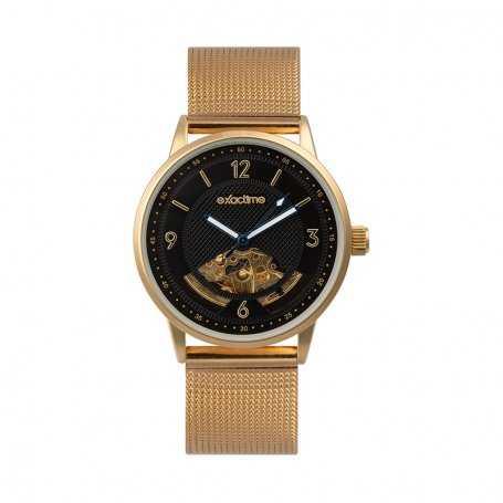 Reloj Hombre Exactime Automático Dorado Noir