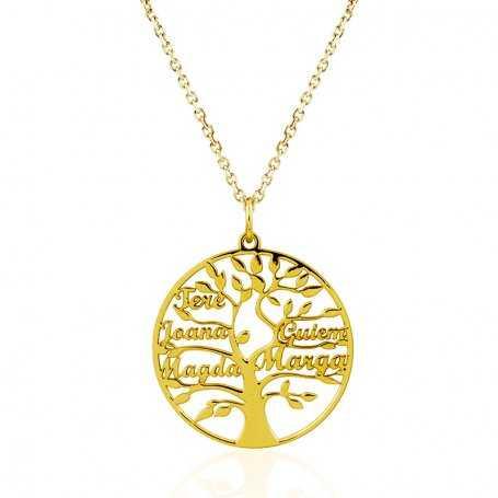Collar Árbol de la Vida Seis Nombres Oro 9k Golden