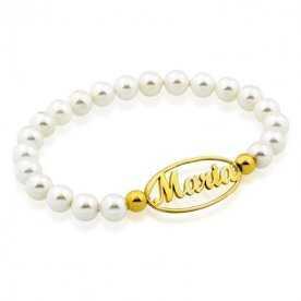 Pulsera Perlas Con Nombre Personalizado Oro Gold