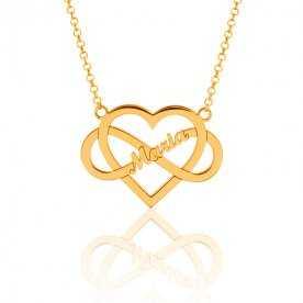 Collar Nombre Personalizado Oro Corazón Infinito