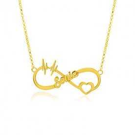 Collar Nombre Personalizado Infinito Oro Gold Ritmo Corazón