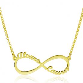 """Collar Con Nombres Personalizados """"Cuatro Nombres"""" Infinito Oro"""