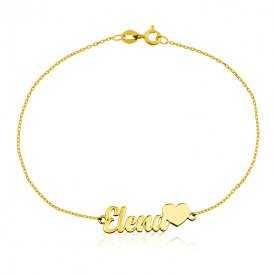 Pulsera Corazón Con Nombre Personalizado Oro 18k