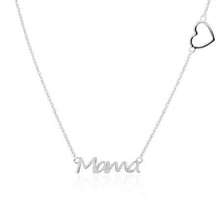 Collar De Plata Mamá Corazón Chained Heart