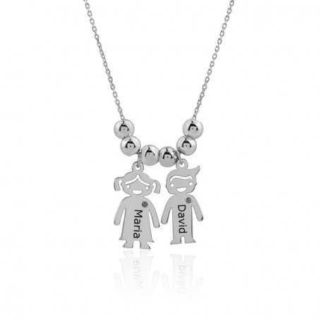 Collar De Plata Niña y Niño Personalizado