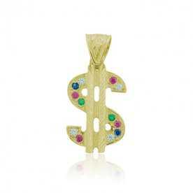 Colgante Oro 9k Dolar Piedras Color