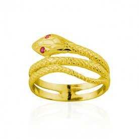 Anillo Oro 9k Serpiente Piedras Color Rubí