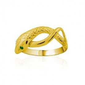 Anillo Oro 9k Serpiente Piedras Color Esmeralda