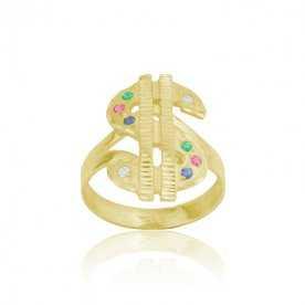 Sello Hombre Oro 9k Dolar Piedras Color