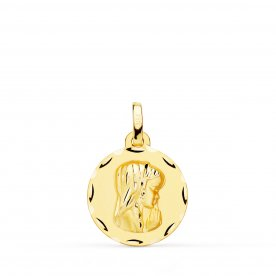 Medalla Oro 9k Virgen Niña Redonda Mery
