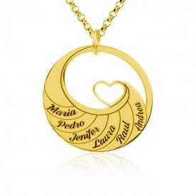 Collar Personalizado Plata Dorada Corazón Nombres