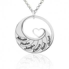 Collar Personalizado Plata Corazón Nombres