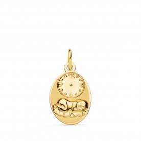 Medalla Oro 9k Hora Recién Nacido Clock